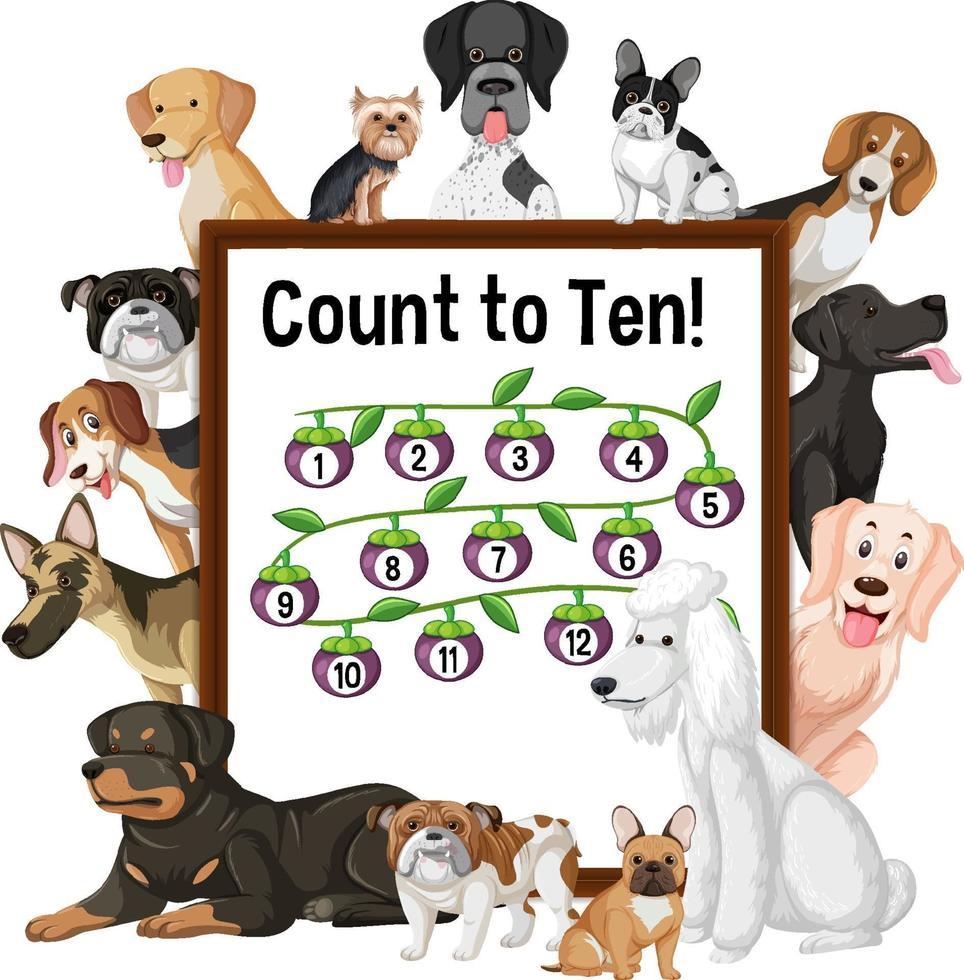 conte até dez tabuleiros com muitos tipos diferentes de cães vetor