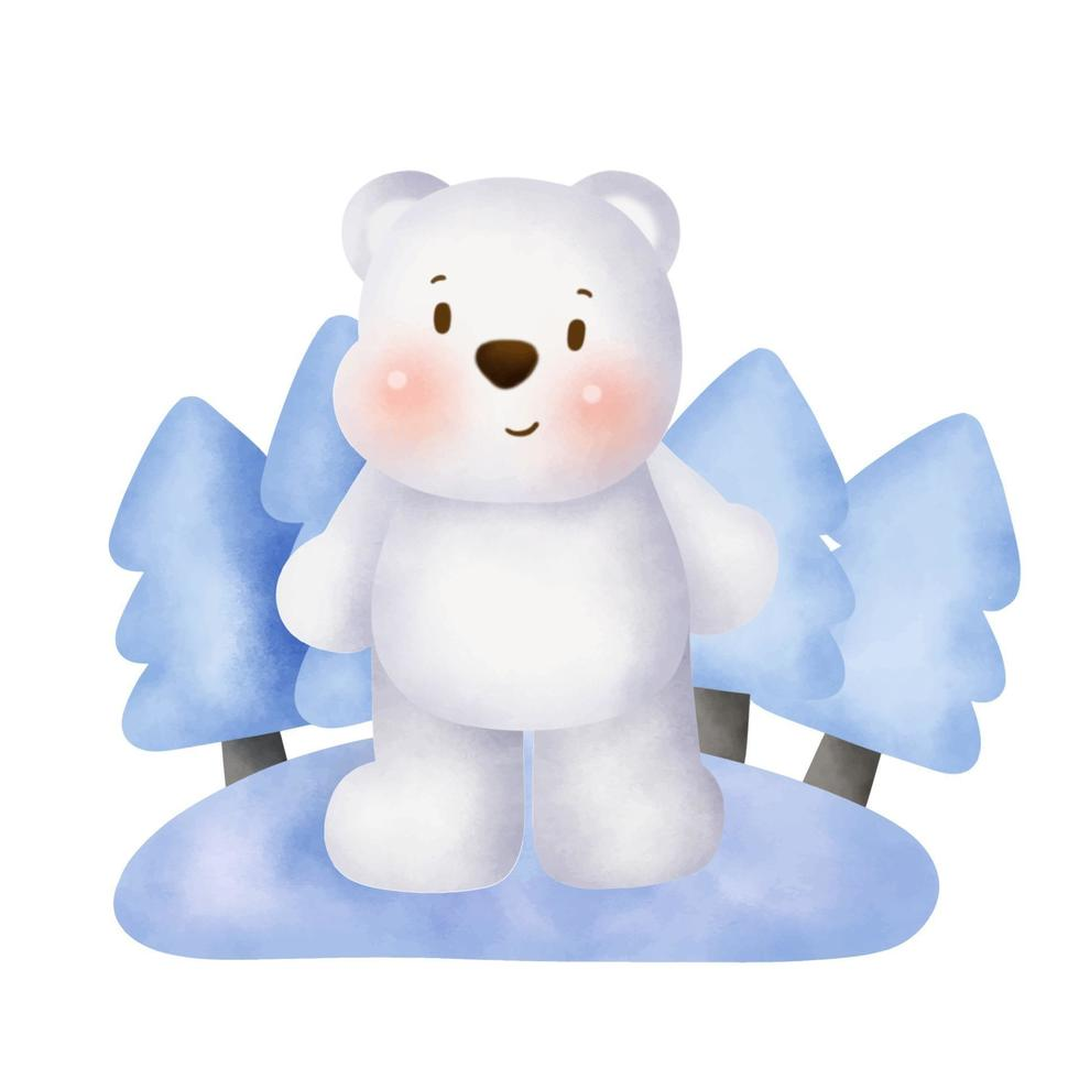 bonito urso polar em aquarela na floresta de neve. vetor