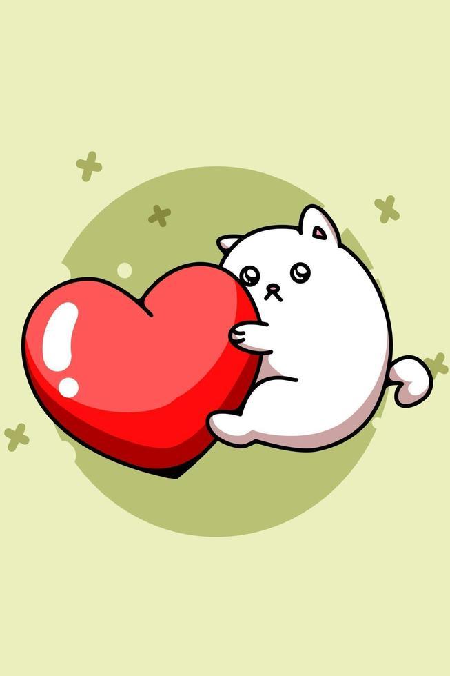 Um gato fofo abraçando um grande coração ilustração de desenho animado vetor