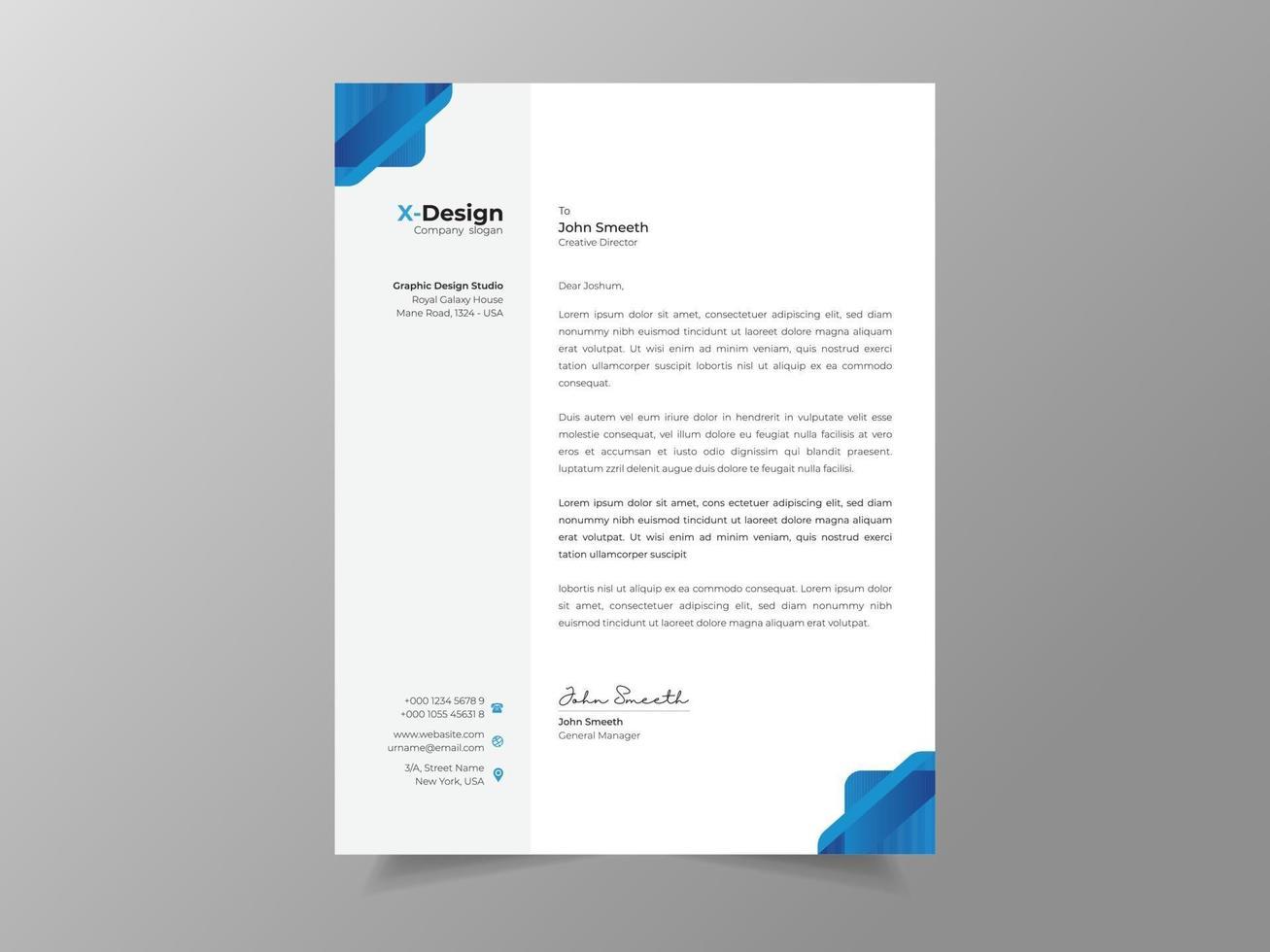 modelo de papel timbrado empresarial moderno e criativo vetor