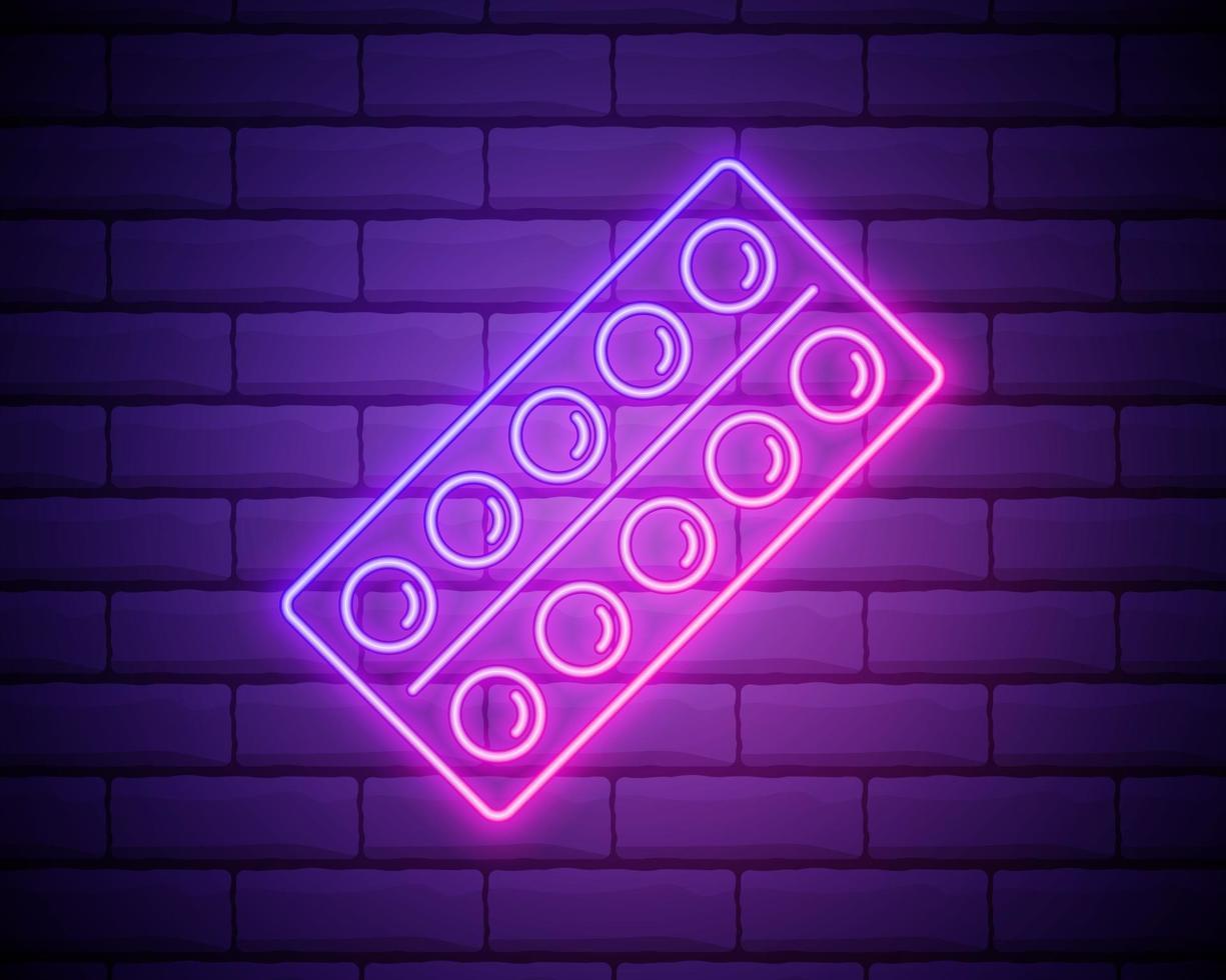 Comprimidos de linha de néon brilhante em ícone de blister isolado no fundo da parede de tijolo. pacote de medicamento médico para comprimido de vitamina, antibiótico, aspirina. ilustração vetorial vetor