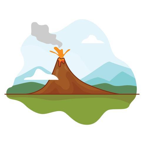 Erupção do vulcão com lava vetor