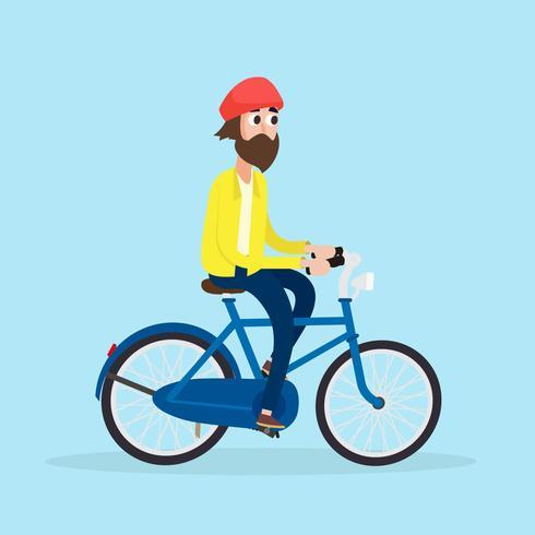 Velho, montando, um, bicicleta, vetorial vetor