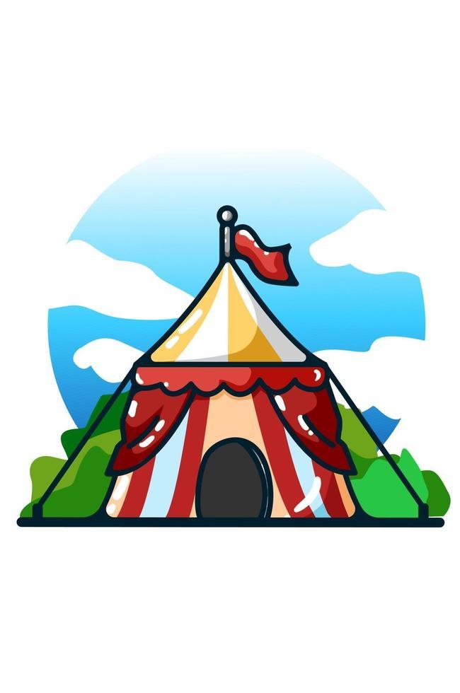 ilustração de desenho de mão de tenda de circo vetor