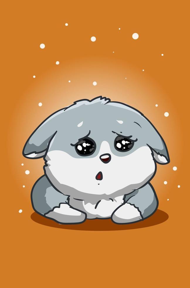 a ilustração do cachorro fofo e triste vetor