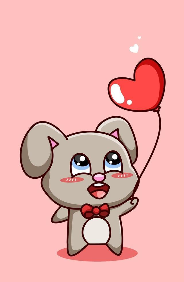 coelho engraçado e kawaii com balão de coração no dia dos namorados, ilustração dos desenhos animados vetor