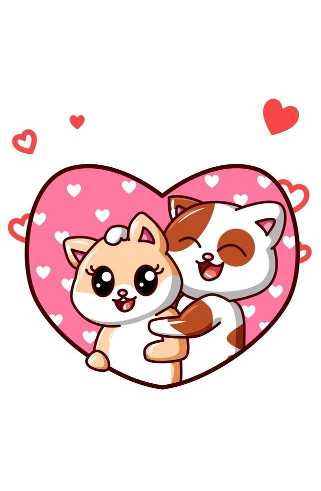 casal de gatos kawaii se apaixonam na ilustração dos desenhos animados do dia dos namorados vetor