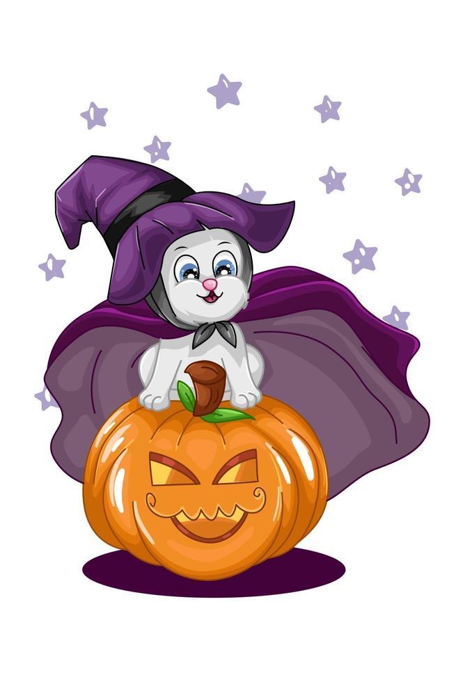 um gato branco fofo na ilustração de abóbora de halloween vetor