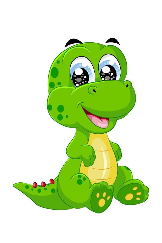 um pequeno e fofinho dinossauro verde amarelo, ilustração em vetor desenho animal