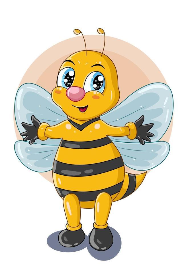 desenho personagem fofa abelha em pé com as mãos abertas ilustração vetor