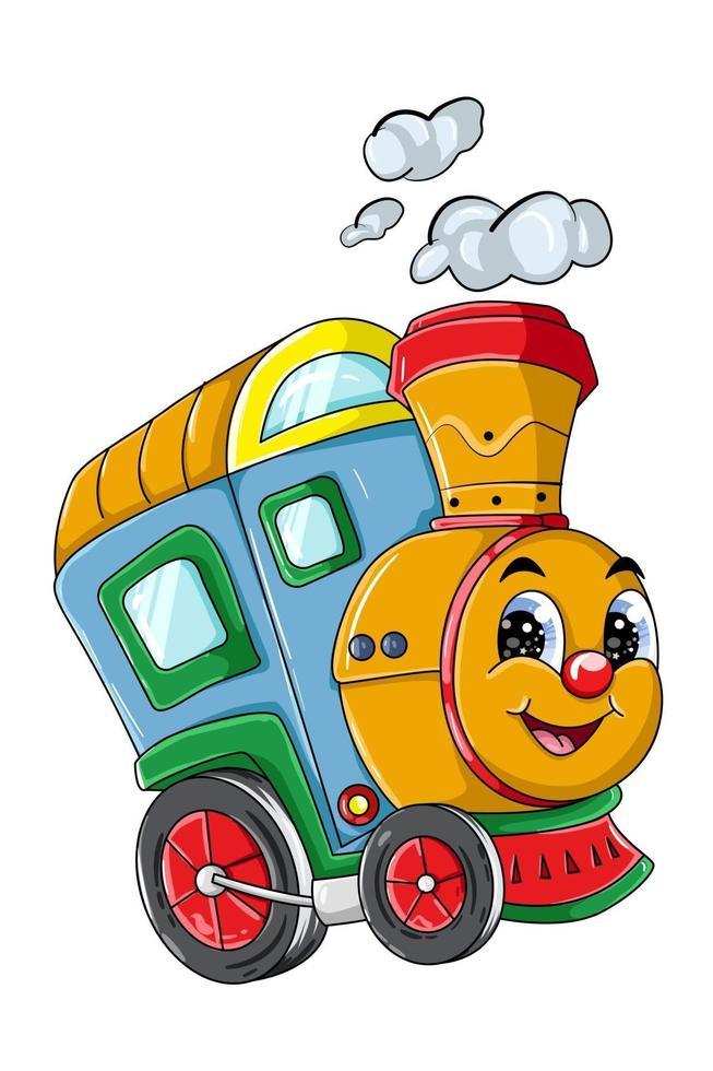 uma ilustração em vetor personagem de desenho animado de trem fofo