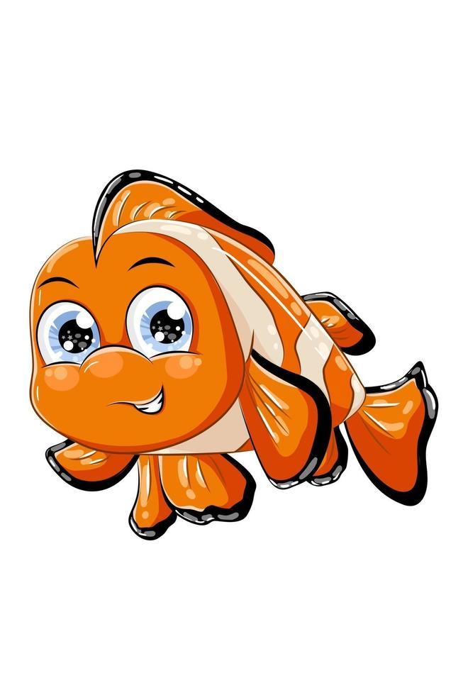 um peixinho palhaço laranja fofo, ilustração em vetor desenho animal