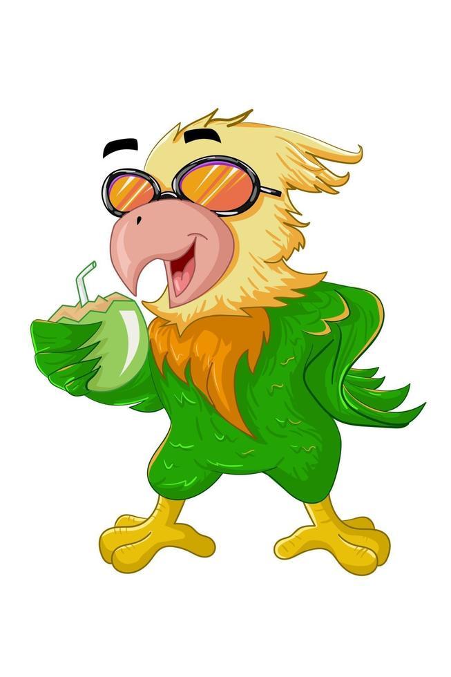 um pássaro verde amarelo de óculos traz a bebida de coco no verão vetor