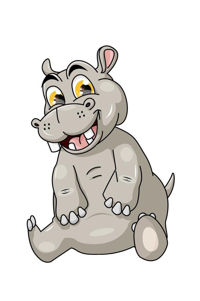 hipopótamo bebê engraçado e fofo vetor