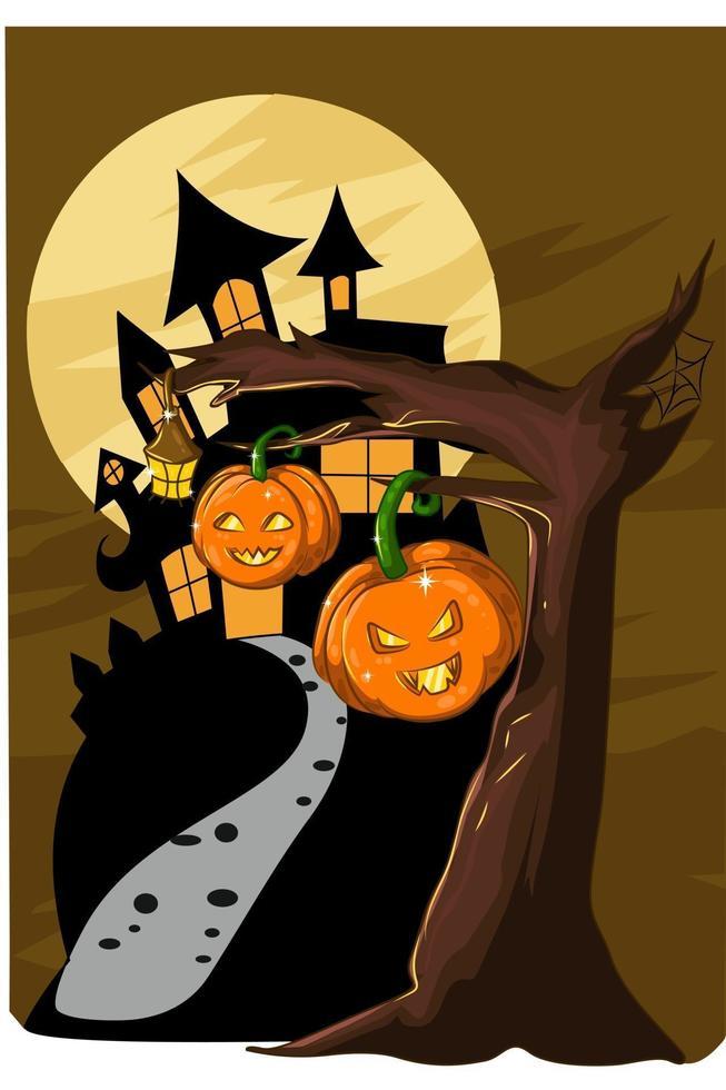 uma ilustração de duas abóboras de halloween com uma árvore estéril na noite de halloween vetor