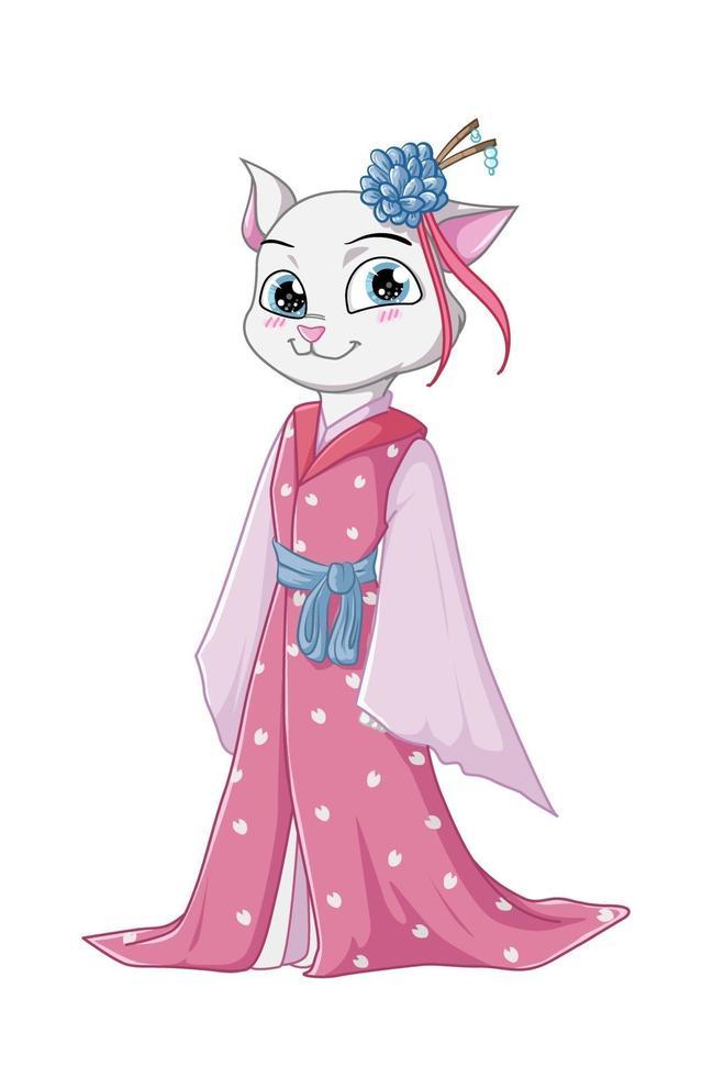 uma linda gata branca usando vestido quimono rosa e fecho de flores vetor