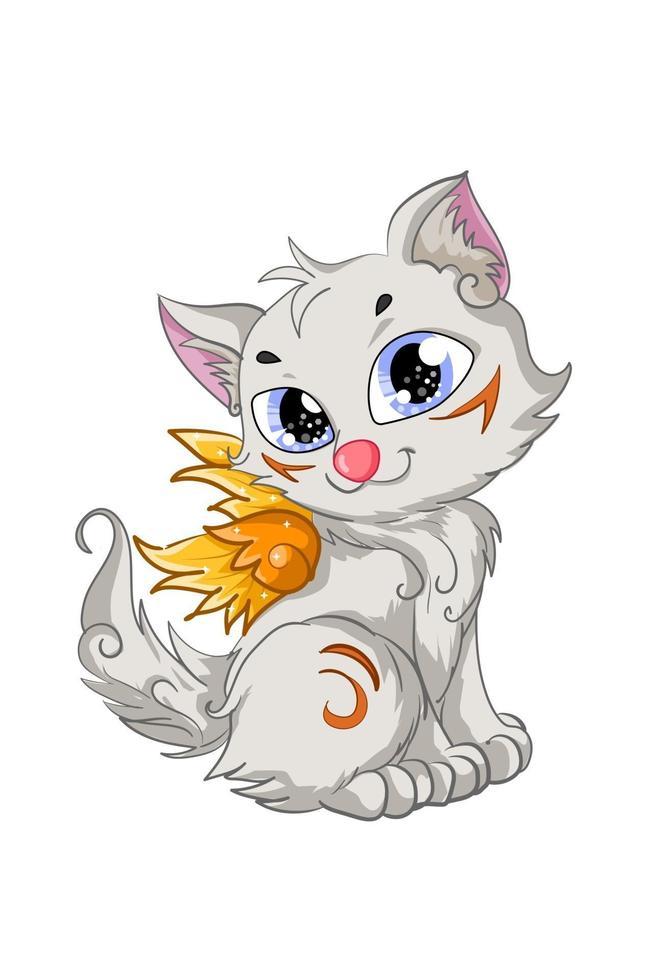 um gatinho fofo branco com asas douradas vetor