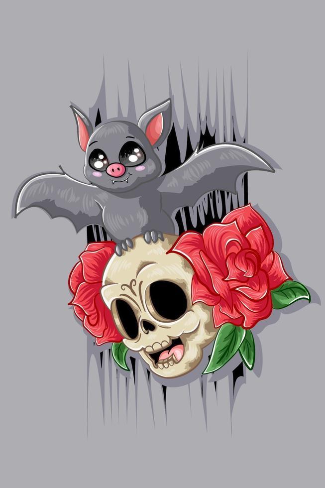 um pequeno morcego na cara do crânio vetor