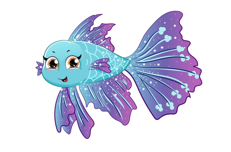um bonito peixe betta roxo azul, desenho de ilustração vetorial de desenho animado vetor