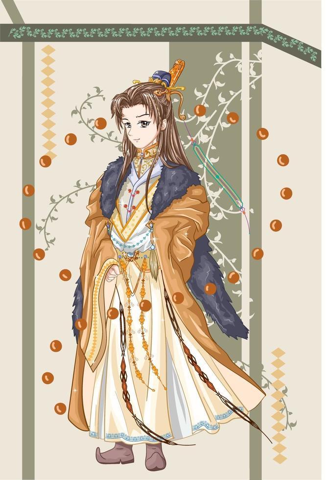 personagem de design de um rei imperador de um antigo reino vetor