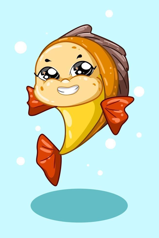 um peixe vermelho amarelo sorridente sobre fundo azul vetor