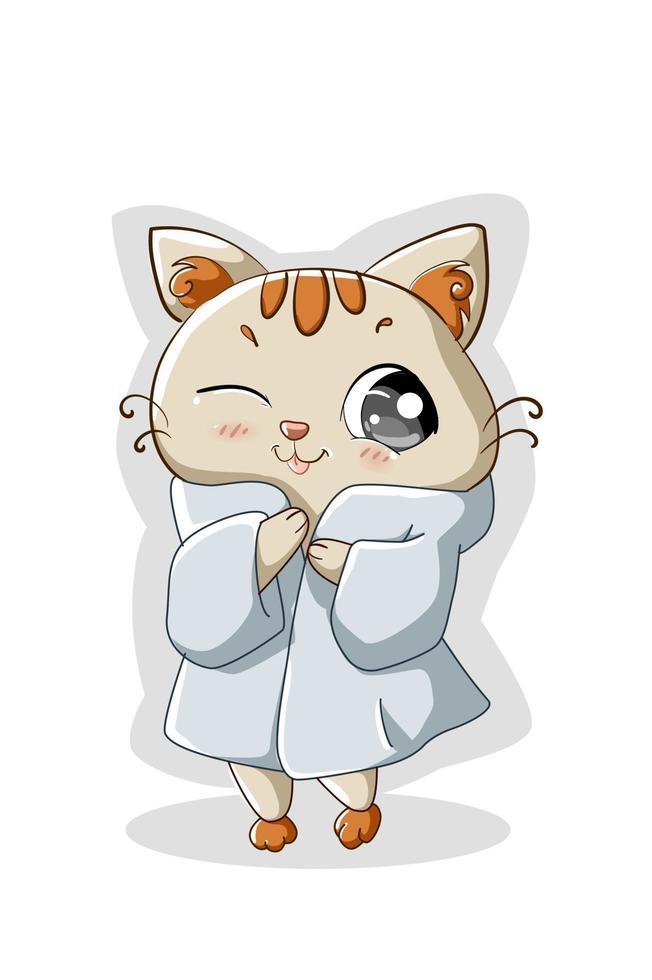 ilustração de um gatinho branco vestindo um jaleco branco vetor