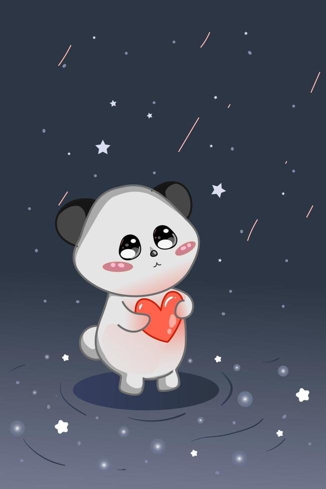 ilustração de um panda fofo com amor no céu noturno vetor