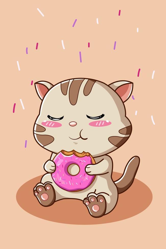 ilustração de um gatinho fofo comendo uma rosquinha vetor