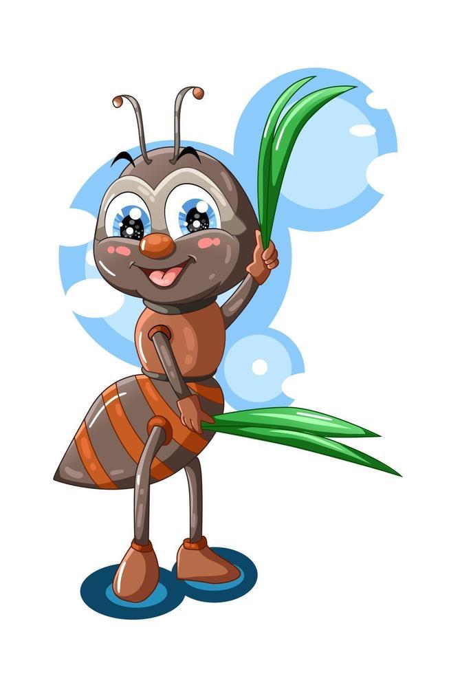 uma formiga marrom fofa traz folhas ilustração vetorial de animais vetor