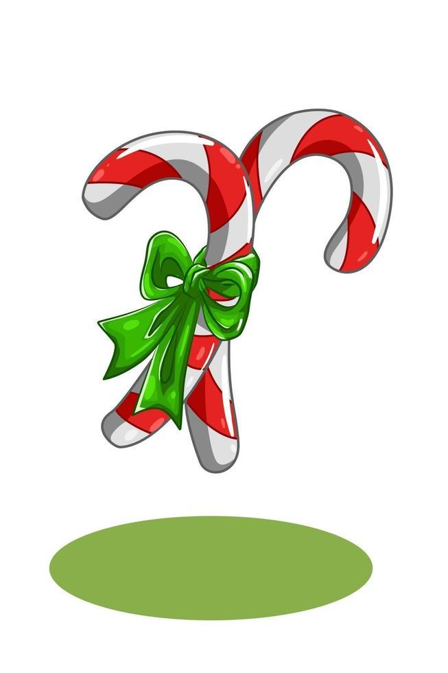 dois doces de natal com ilustração de fita verde vetor
