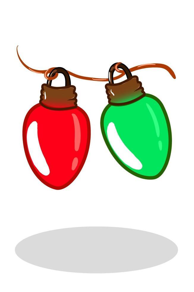 duas lâmpadas vermelhas e verdes de natal vetor