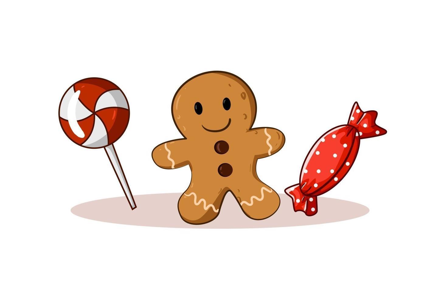 ilustração do tema natalino de doces e biscoitos vetor