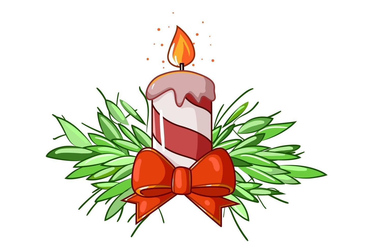 uma luz de vela da ilustração de natal vetor