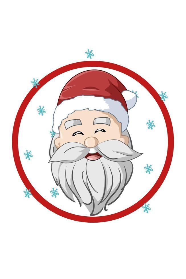 um papai noel feliz com ilustração de chapéu de natal vetor
