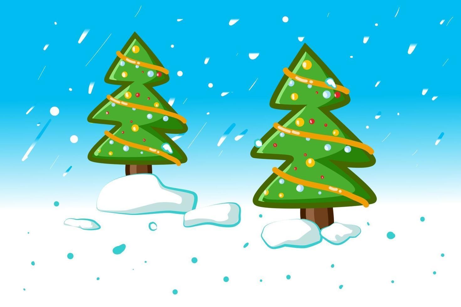 duas pequenas árvores de natal de abeto no inverno vetor