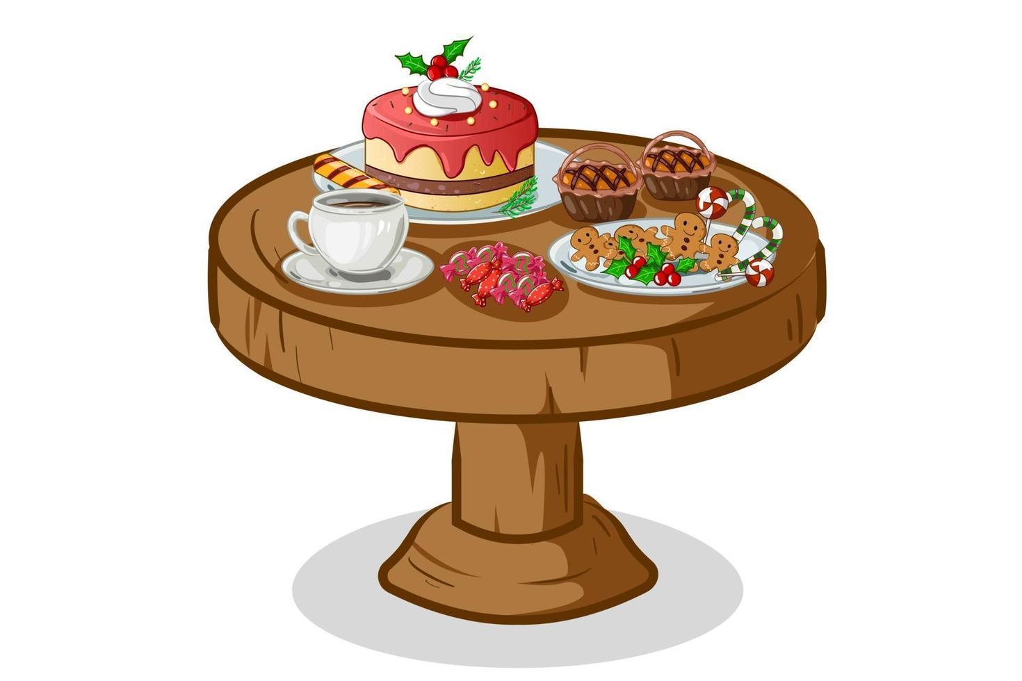 ilustração vetorial de bolo de natal em cima da mesa vetor