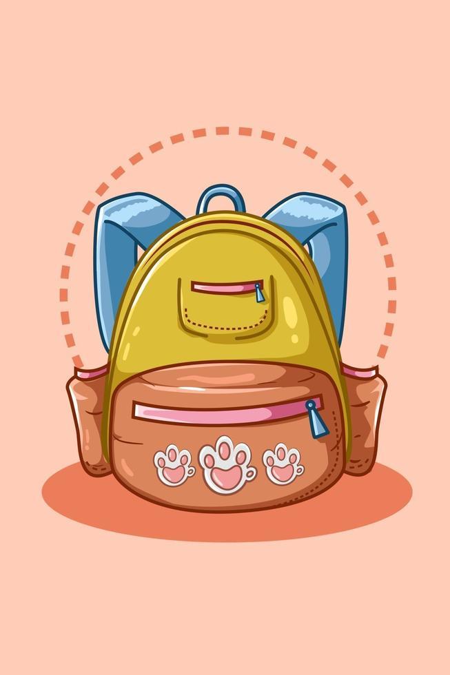 ilustração de bolsa escolar azul amarela vetor