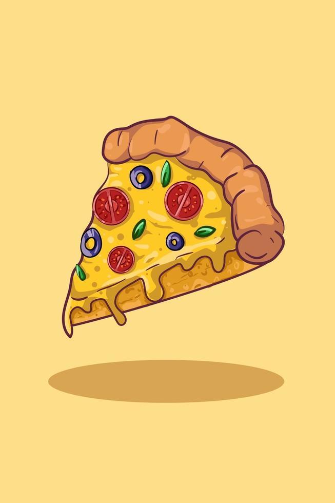 ilustração vetorial de pizza, fundo amarelo vetor