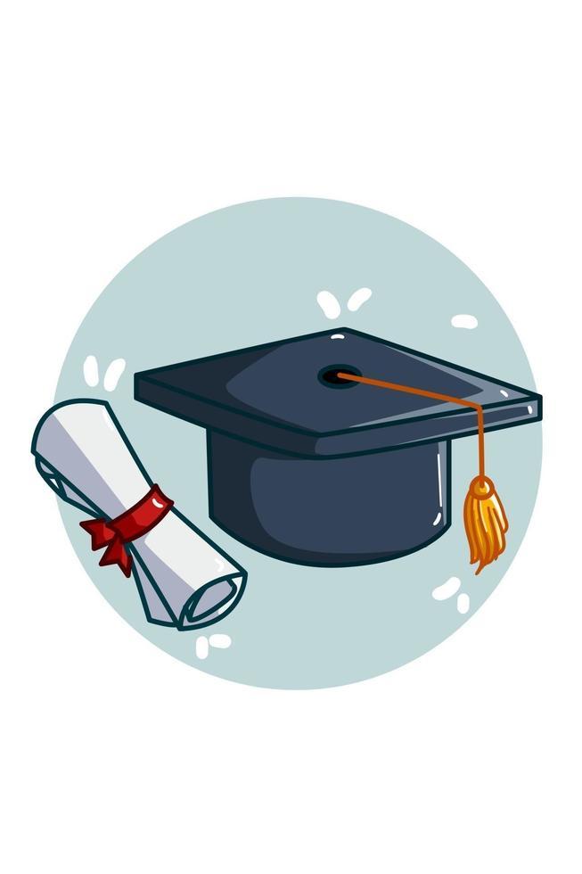 ilustração de boné e certificado de formatura vetor