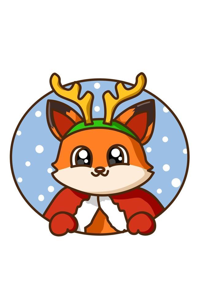 uma raposa vestindo fantasia de natal vetor