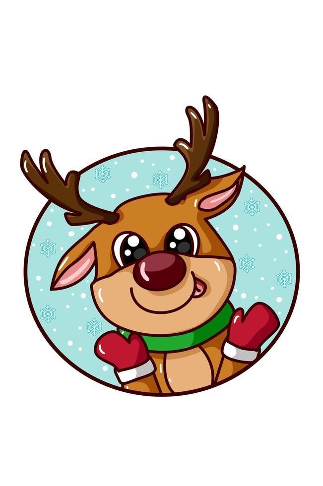 um cervo fofo com tema de natal vetor