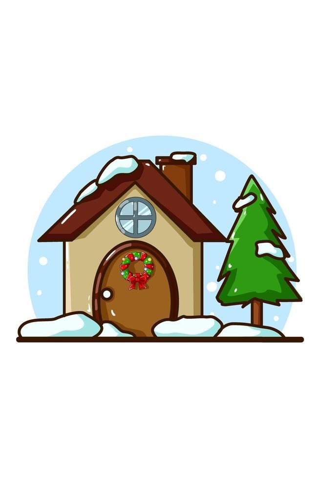 uma casa com árvore de abeto na época do natal vetor
