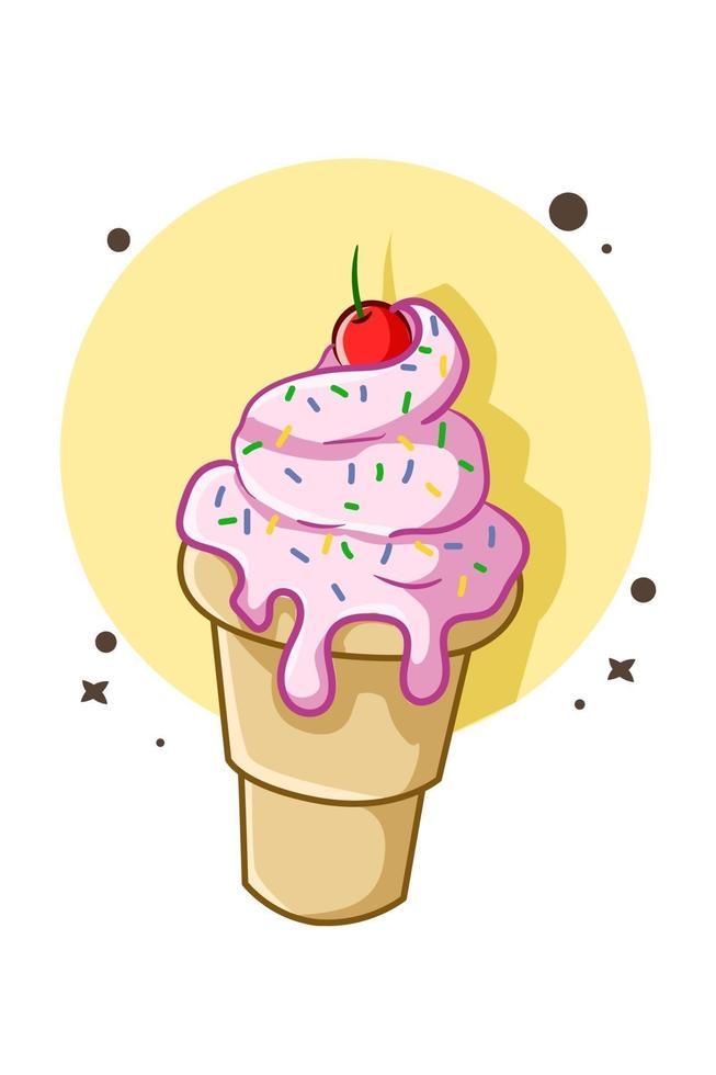sorvete com creme de manteiga rosa e cereja vetor