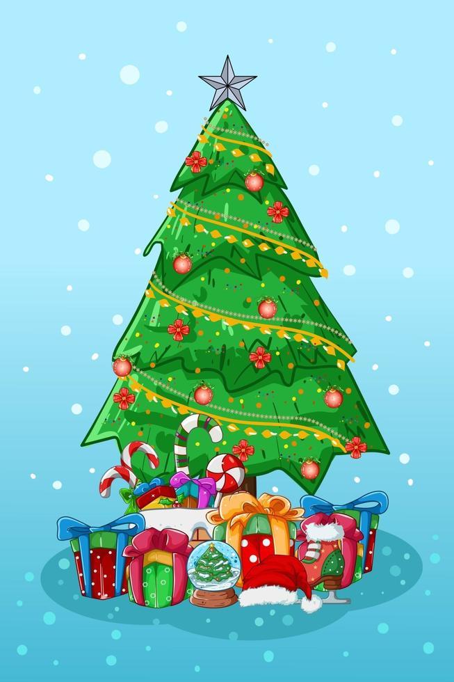 ilustração da árvore de natal com alguns presentes e doces vetor
