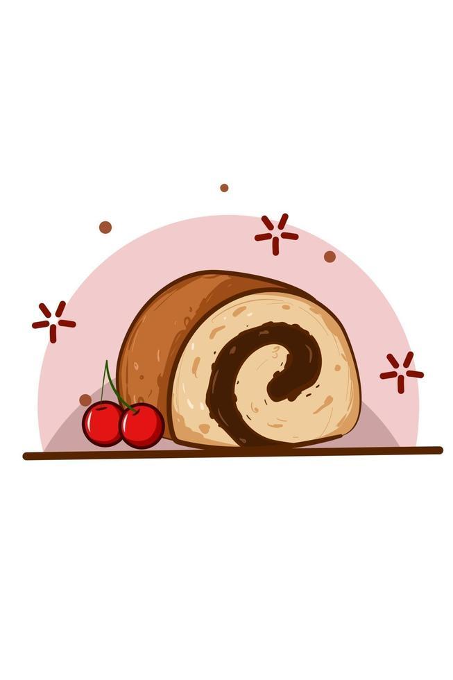 ilustração de pãezinhos com vetor cereja