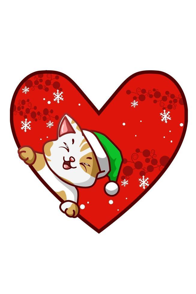 gato fofo com amor usando chapéu verde de natal vetor