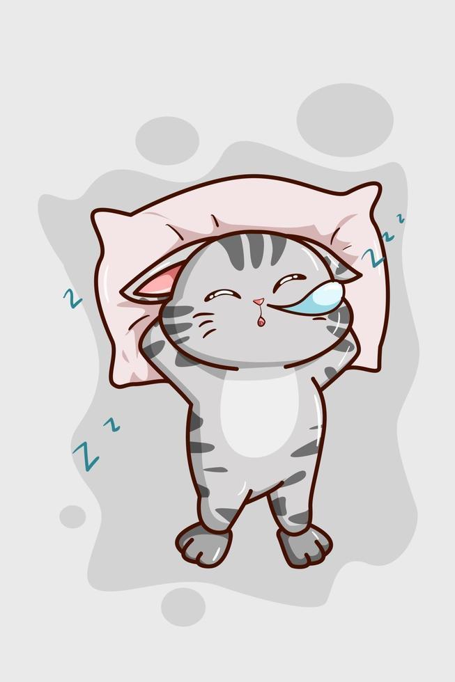 um gatinho cinza fofo que está dormindo vetor