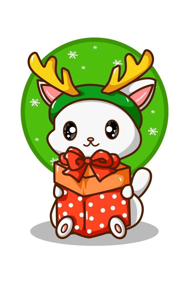 um gato branco carregando um presente de natal com uma faixa de chifre de rena vetor