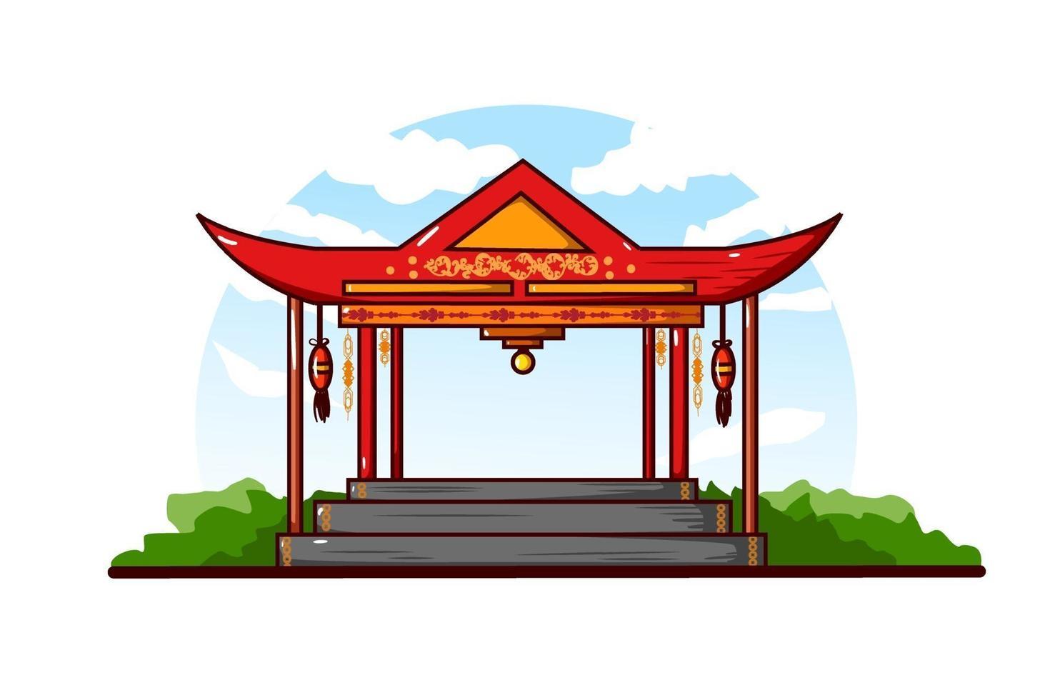 ilustração do gazebo chinês contra um fundo de céu nublado vetor