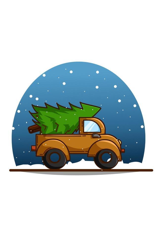 um caminhão carregando pinheiros na véspera de natal vetor